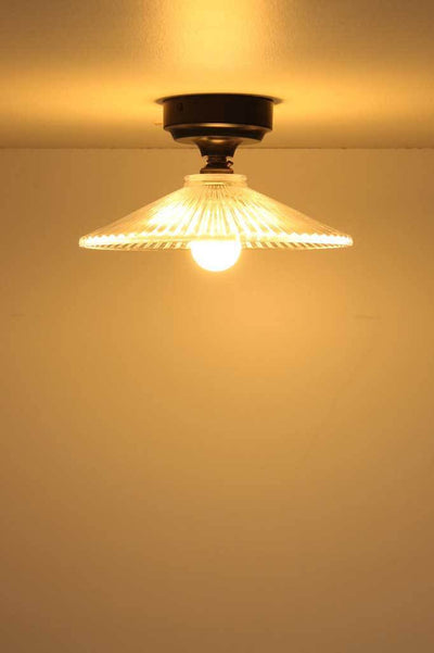 C131 vintage glass ceiling light thick shade flush low ceiling