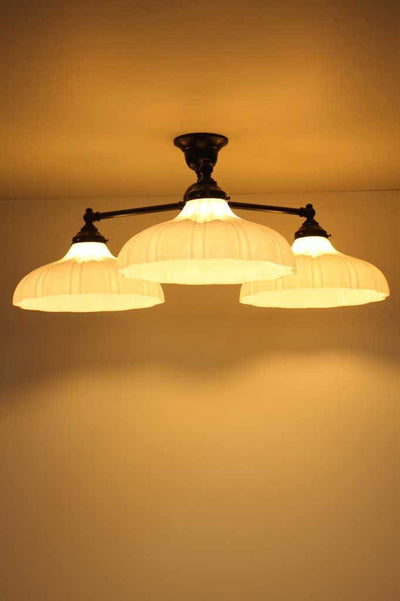 C133 large three arm ceiling light glass shades vintage style industrial flush mount
