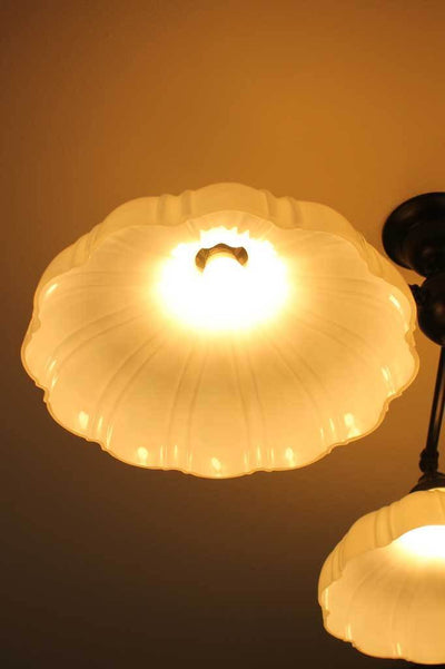C133 large three arm ceiling light glass shades vintage style industrial