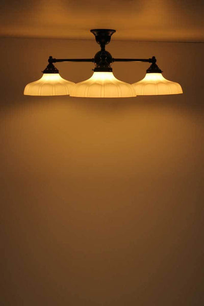 C133 small three arm ceiling light glass shades vintage style industrial flush