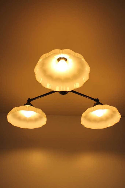 C133 small three arm ceiling light glass shades vintage style industrial under shot