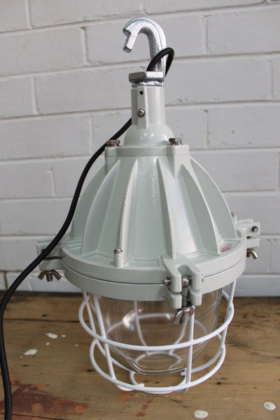 Cage light industrial pendant side view