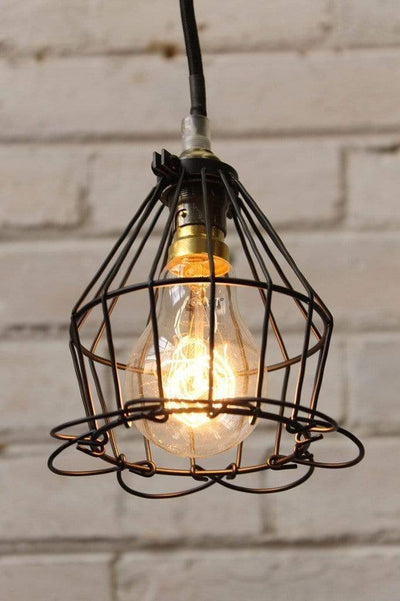 Cage light trouble light black cage industrial style lighting