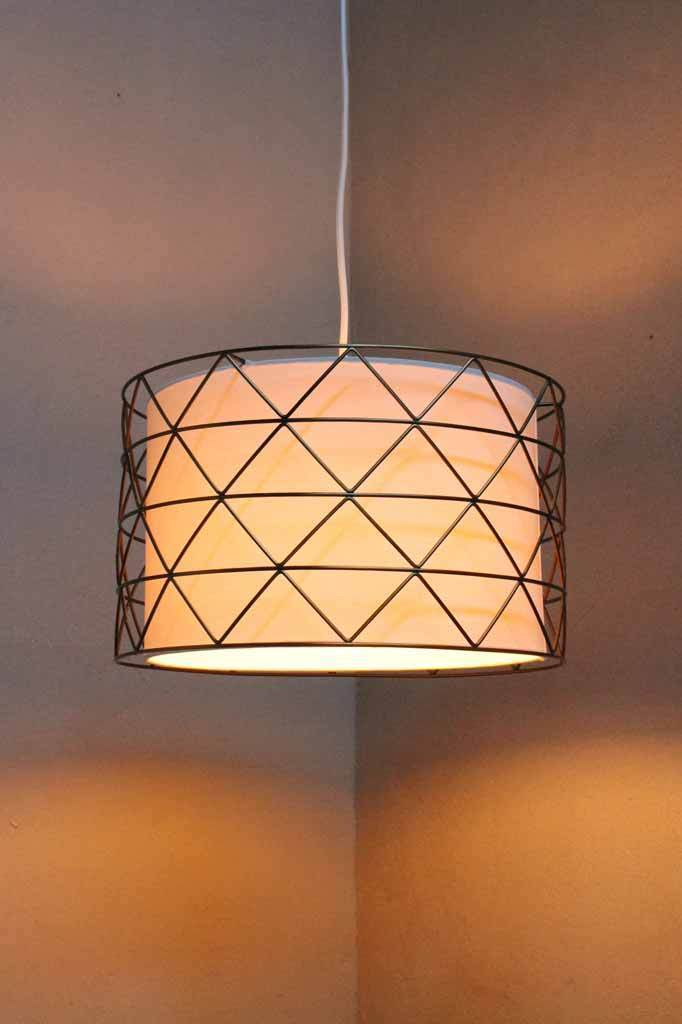 fabric pendant lighting. Cage-and-fabric-pendant-light Fabric Pendant Lighting