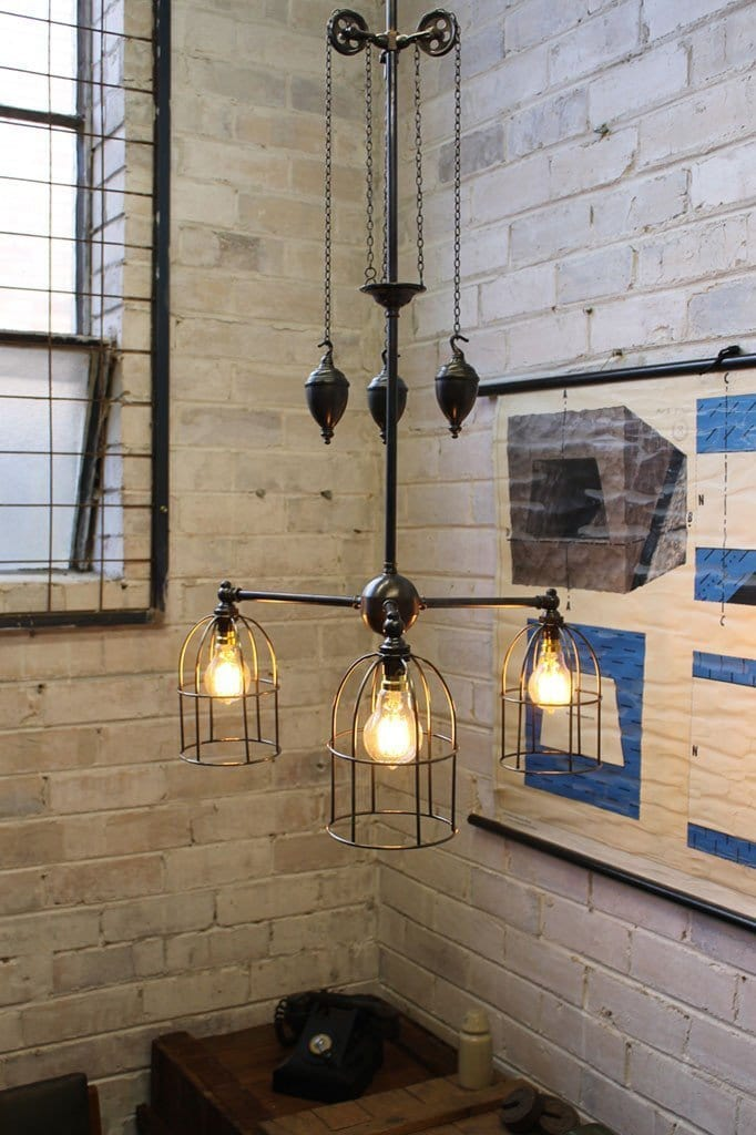 Cage Chandelier Pulley Light
