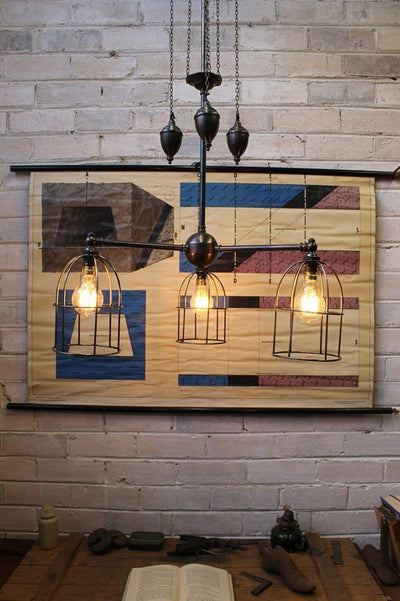 Cage chandelier pulley light with small cage shades