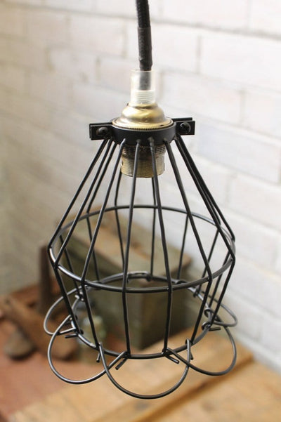 Cage industrial shade ball trouble light. lighting online. black cage shade