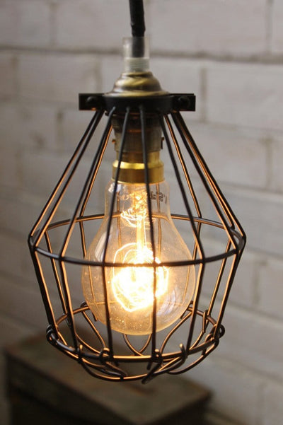 Cage industrial shade ball trouble light. cage shade in black