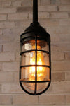 Cage light industrial pendant pole mount in matt black