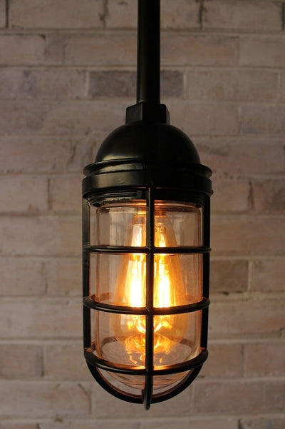 Cage light industrial pendant pole mount with led bulb
