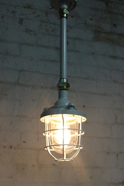 Cage light industrial pendant with ceiling pole
