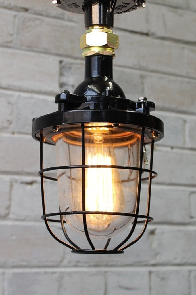 Cage Light Industrial flush mount Light with black cage guard