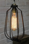 Cage pendant light in matt black vintage industrial pendants light with teardrop edison filament bulb