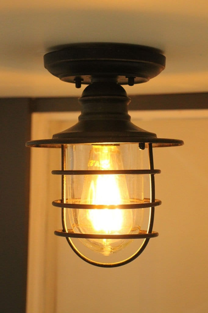 Cage lighting for outdoor area. front porch lighting. flush mount lights for exterior use.