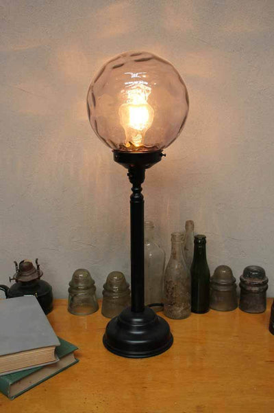 Candlestick table lamp with dimpled glass shade. french industrial style. 1900s style lighting