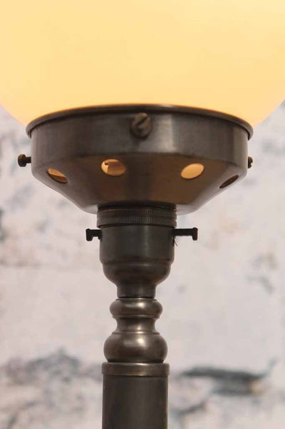 Candlestick table lamp antique bronze close up of the gallery