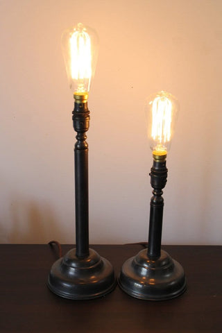 Candlestick lamps in heavy brass