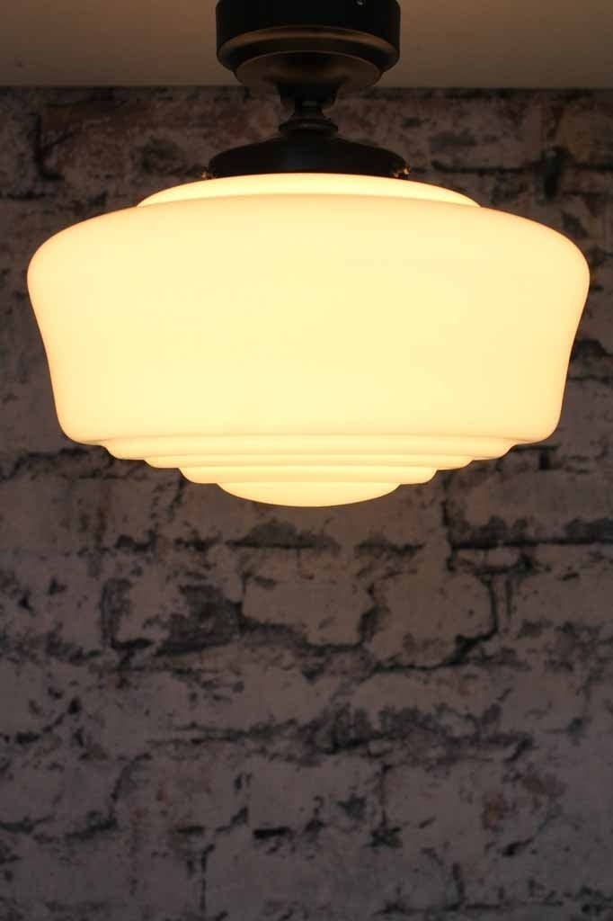 Carlyle hand blown shade with light on perfect for low ceilings in home or bedroom lighting or hallway or kitchen that is traditional or vintage decor