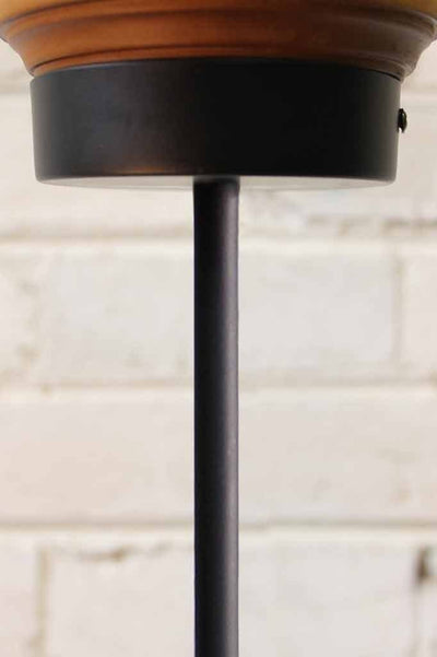 Cellar pendant light pole mount on wooden block