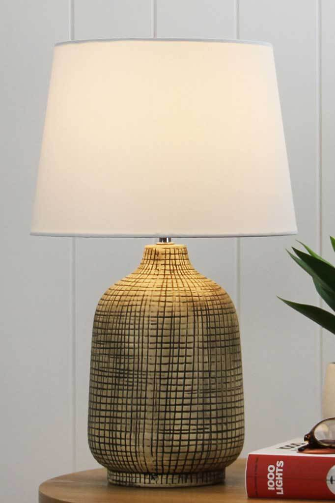 Crosshatched Ceramic Table Lamp