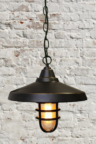 Chain pendant light. industrial style lighting. black cage light with nautical feel.