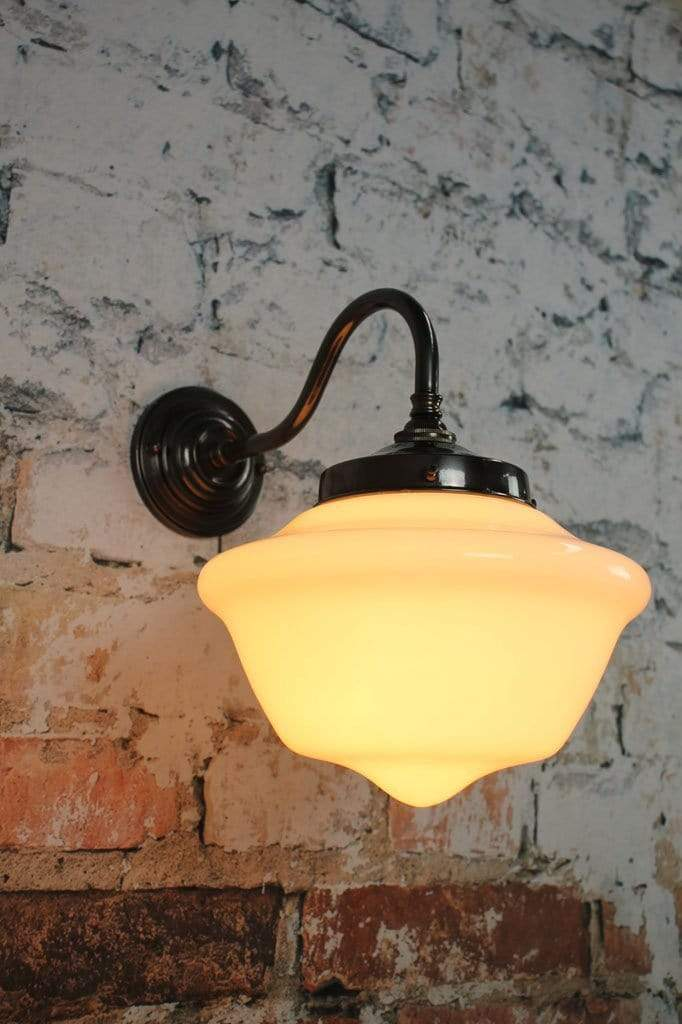 Chelsea wall light with schoolhouse shade. vintage gooseneck lighting.