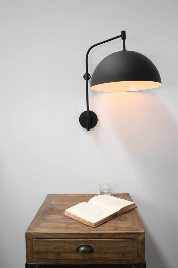 Classic black minimalist dome wing arm wall lamp with wing arm