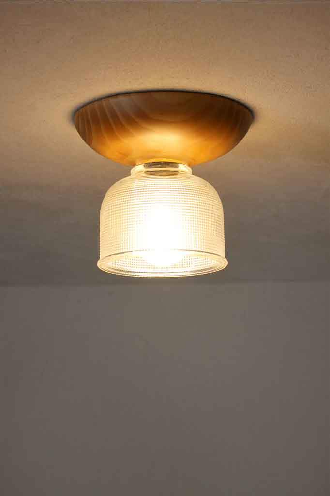 Clear Glass Wood Ceiling Light