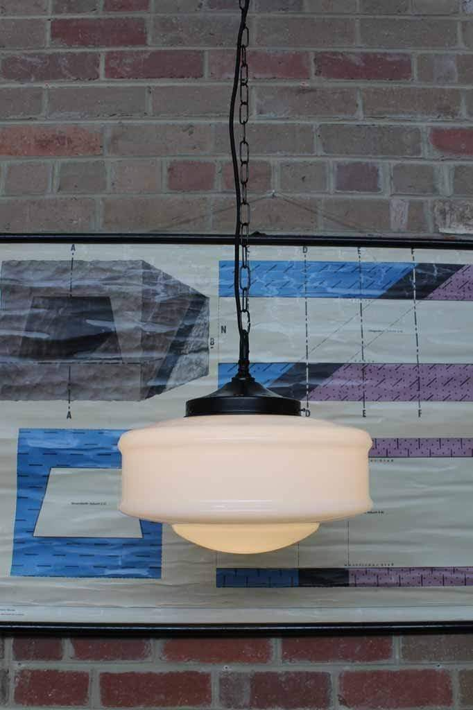 Colony glass pendant light with 2 mete chain suspension cord and black metal gallery and fitings