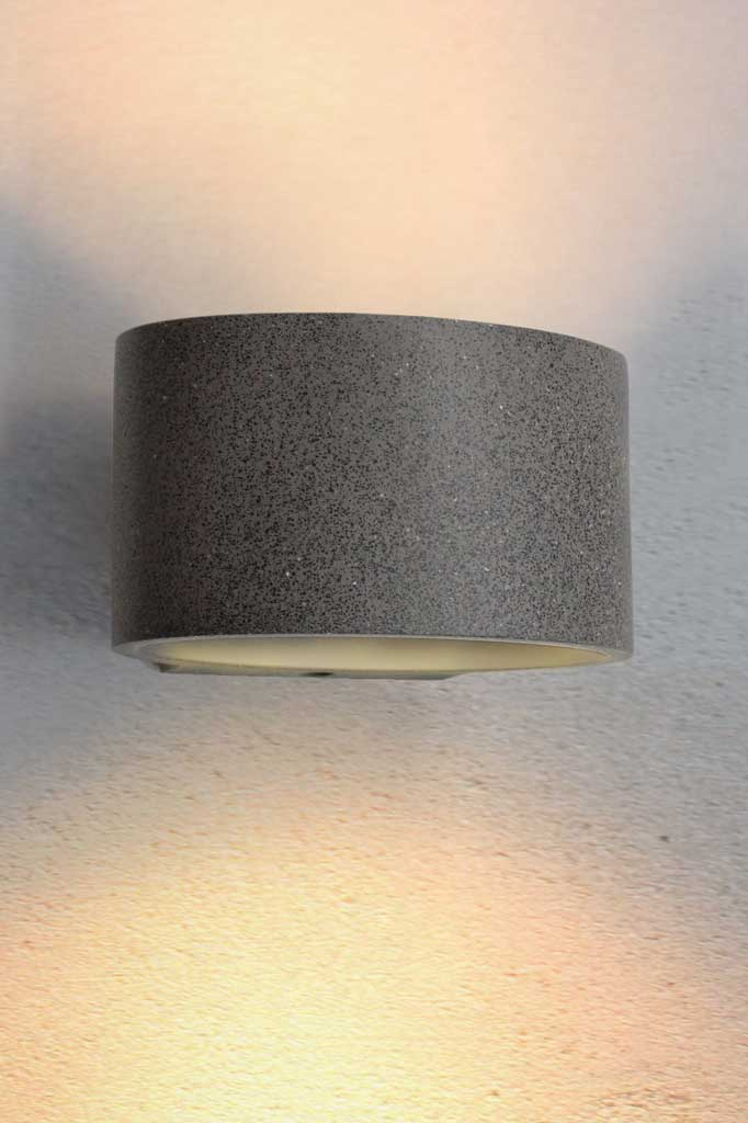 Concrete outdoor wall light in black sandstone