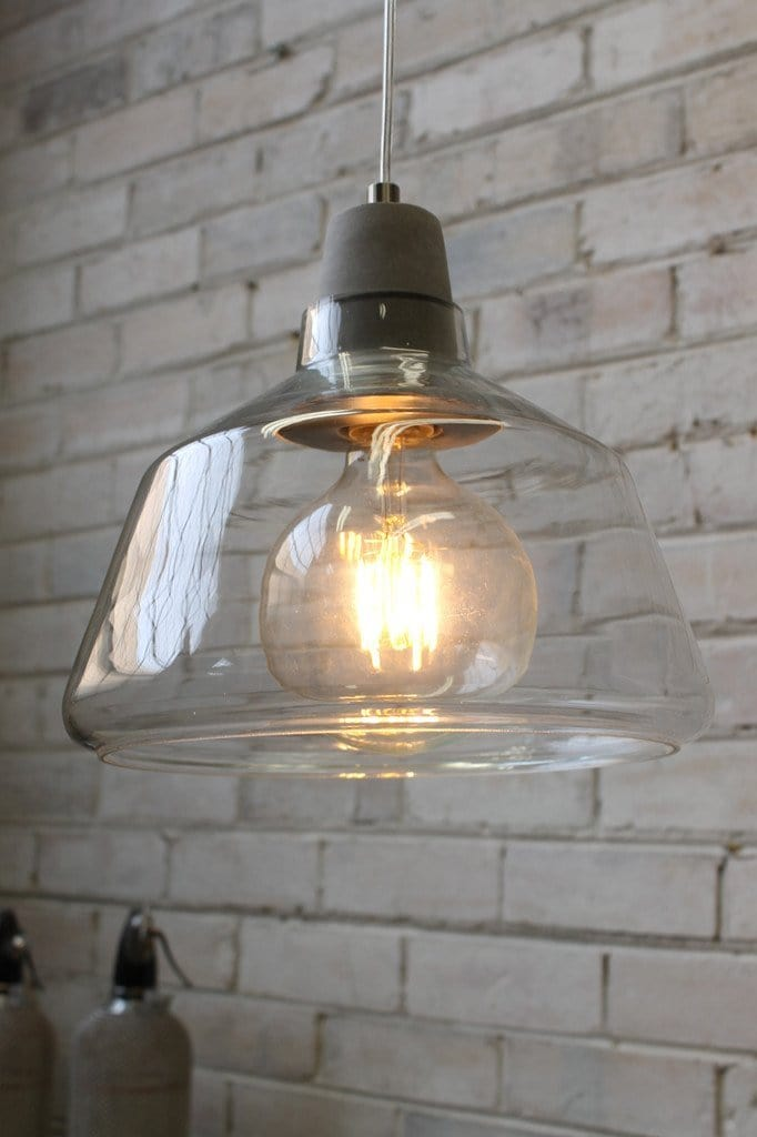 concrete top glass lights scandinavian style with industrial twist