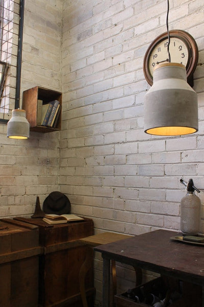 Concrete and timber pendants