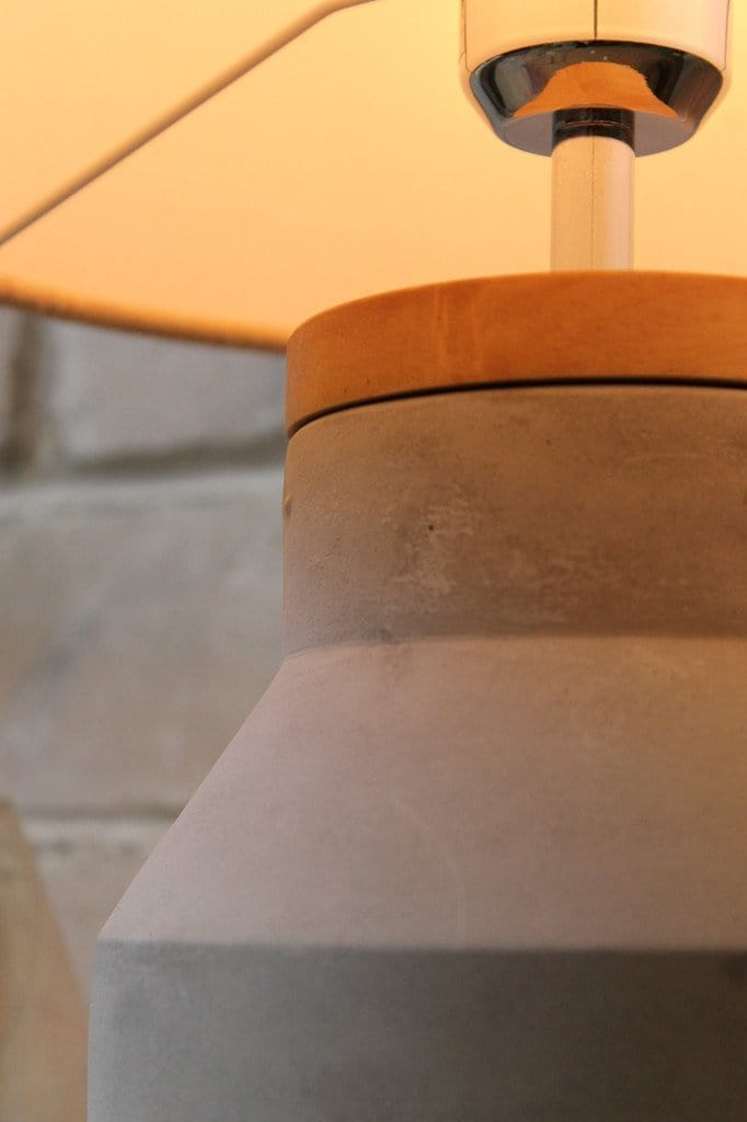 Concrete and timber table lamp industrial chic