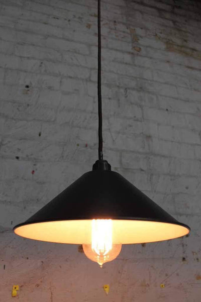Cone ceiling pendant light. black enamel shade with black cord and edison style bulb