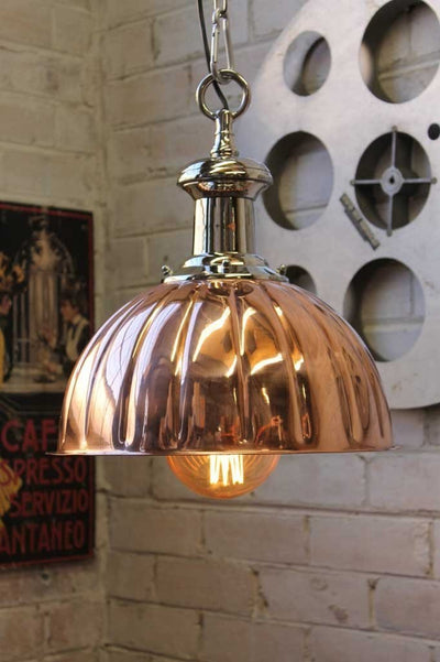 Copper jelly mould pendant light with edison light bulb