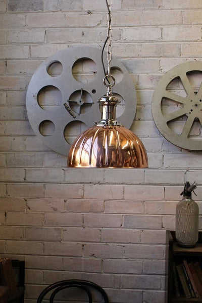 Copper pendant lights. Jelly Mould shade