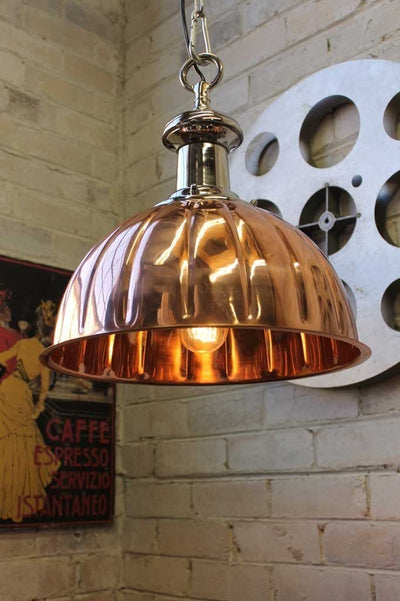 Copper pendant lights. Polished copper and chrome finish