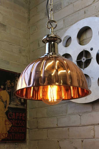 Copper pendant lights. polished copper and chrome finish. use for kitchen lighting bedroom lighting or cafe lighting.