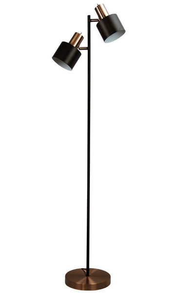 Copper and black floor light. double head floor lamp. reading light for playroom