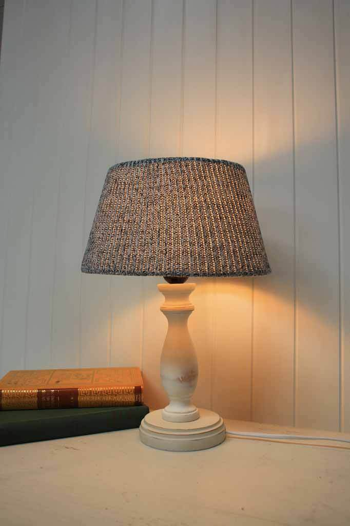 Country cottage style decor. small table lamp for bedside table.