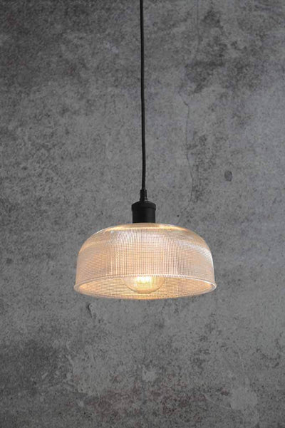 Crosshatch pendant lighting. holophane glass style lighting. dressing room lighting.
