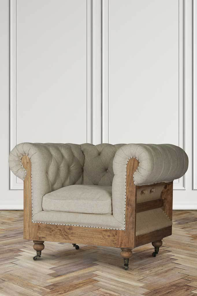 Deconstructed chesterfield inspired armchair classic weave