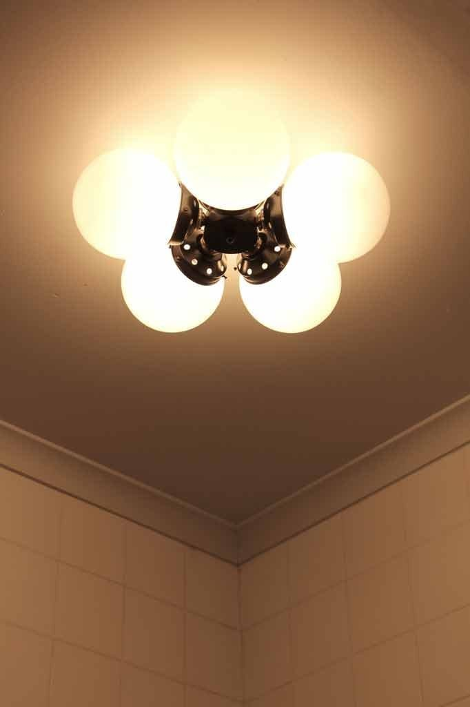Diner flush mount light affixes directly to the ceiling