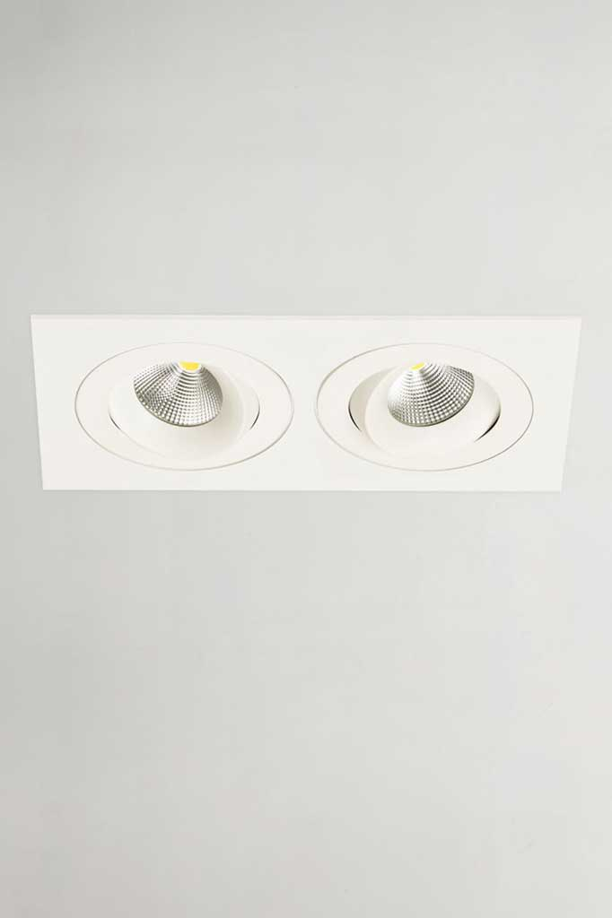 Twin downlight in white finish