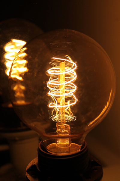 Edison light bulb round spiral filament