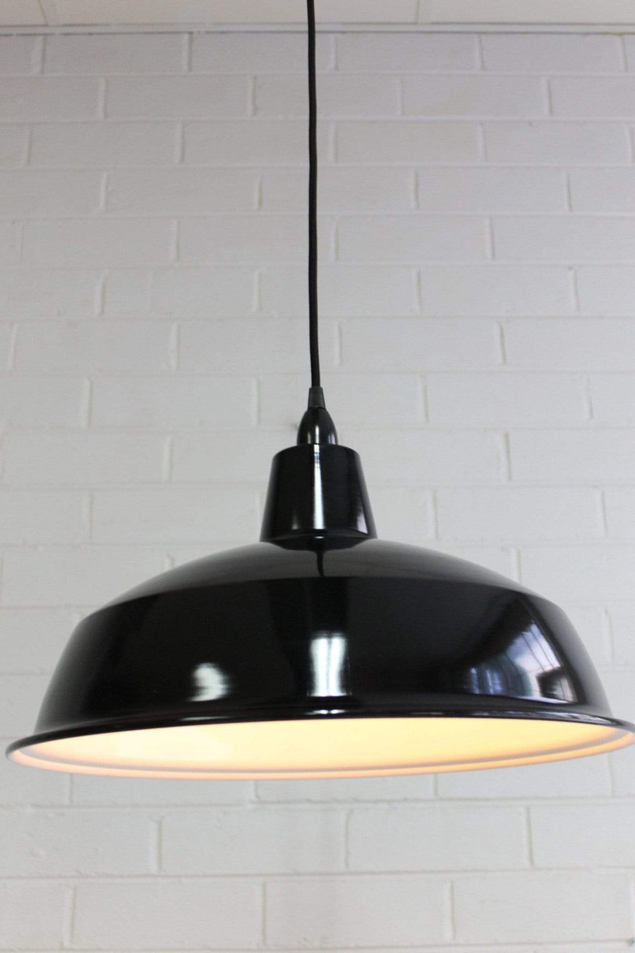 Enamel ceiling pendant light in black