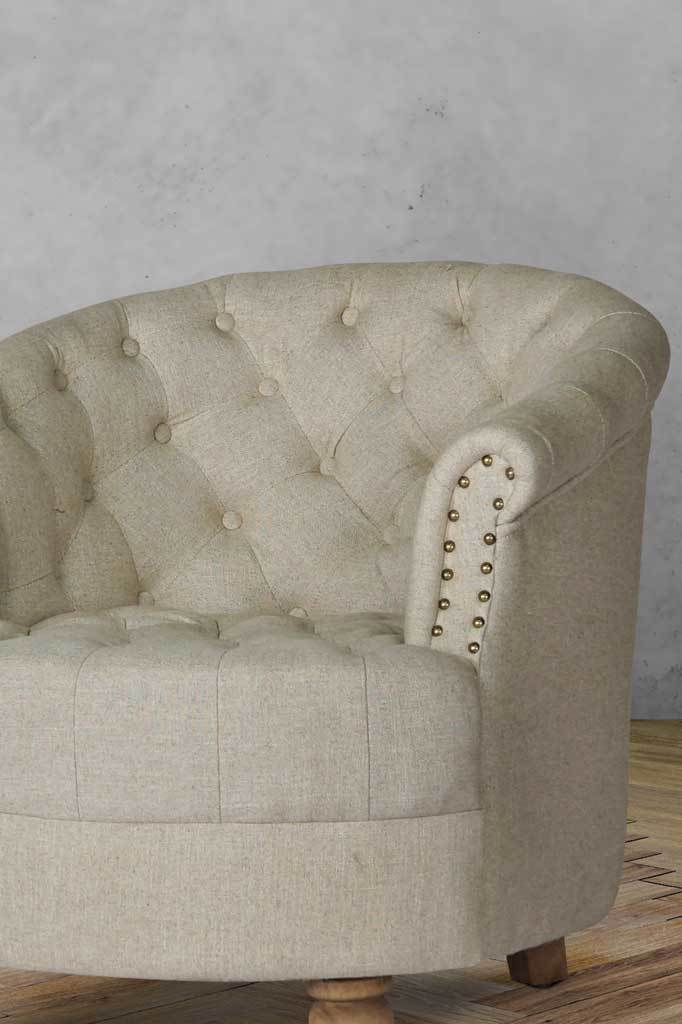 Main image fabirc vintage armchair small wooden frame chesterfield club chair