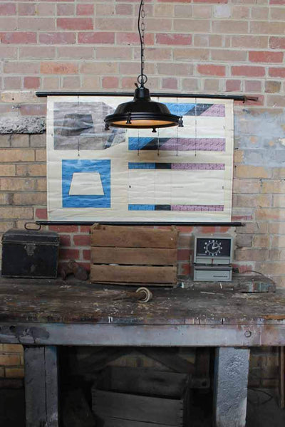 Factory Lugnut Pendant Light over wooden bench ideal for kitchen island lights or kitchen benches