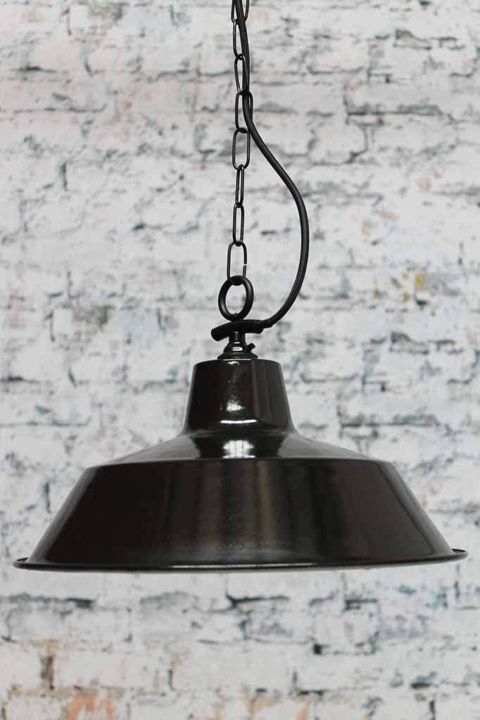 Factory ceiling pendant light. Timeless cool gloss black enamel finish with optional frosted glass cover. Choice of braided cloth light cord or side entry chain suspension light cord