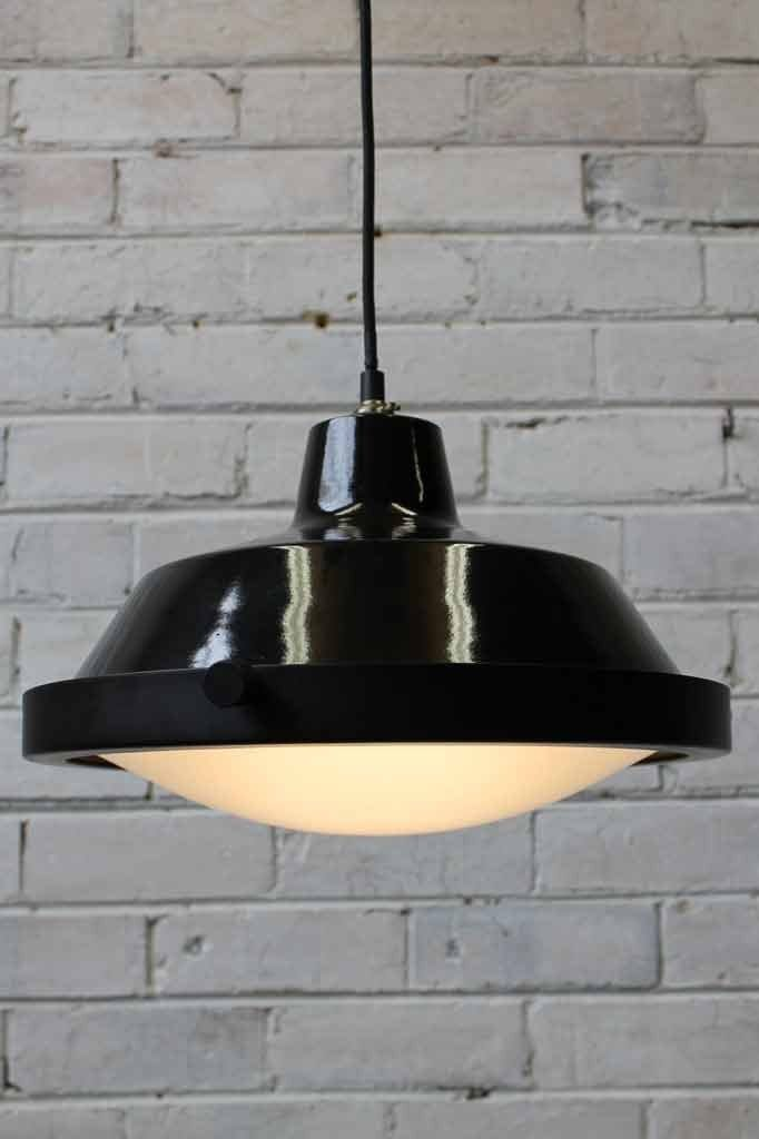 Factory eye pendant light with frosted glass cover